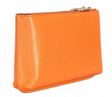 W332-Adriana-Women's wallet cum clutch in Genuine Leather - Tan