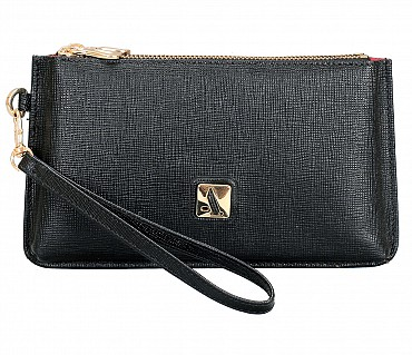 W332-Adriana-Women's wallet cum clutch in Genuine Leather - Blue