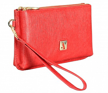 W332-Adriana-Women's wallet cum clutch in Genuine Leather - Red