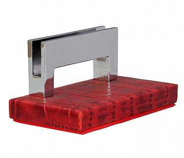 W333-Credit card holder in genuine leather- - Red