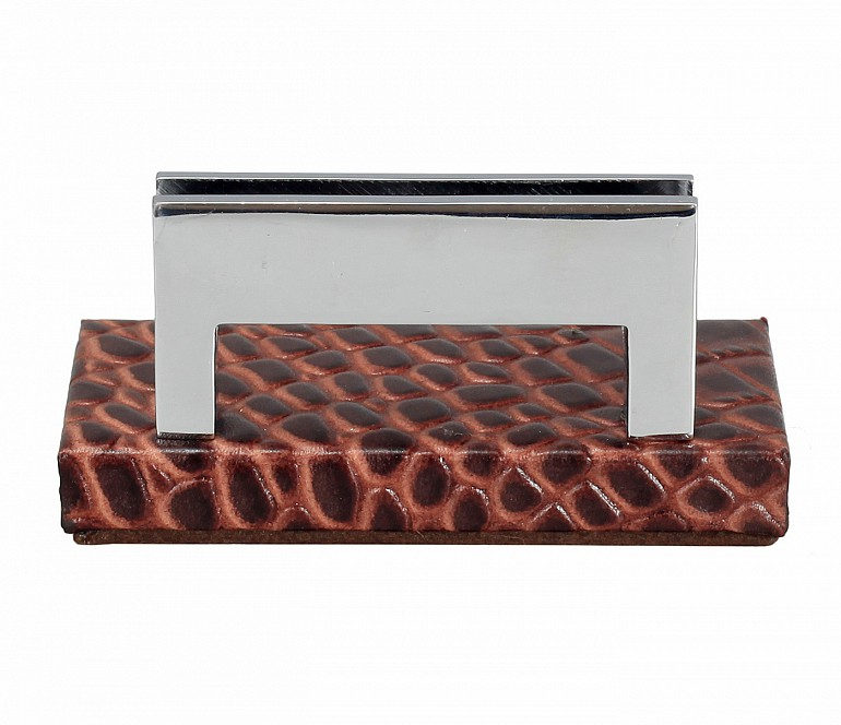 W333-Credit card holder in genuine leather- - Brown
