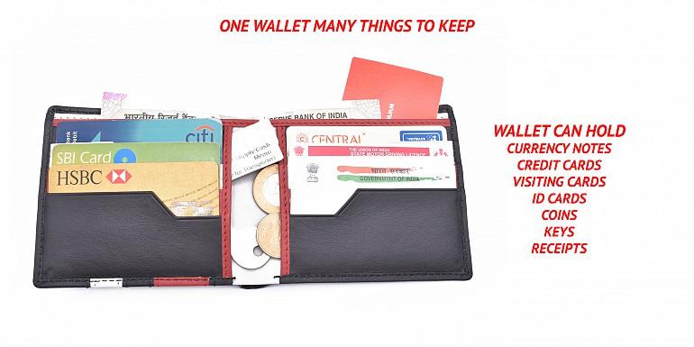 W334-Alvaro-Men's bifold wallet in genuine leather - Black/Red