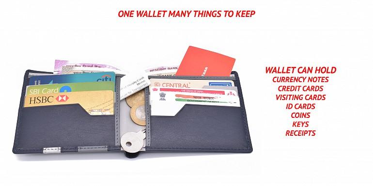 W334-Alvaro-Men's bifold wallet in genuine leather - Blue