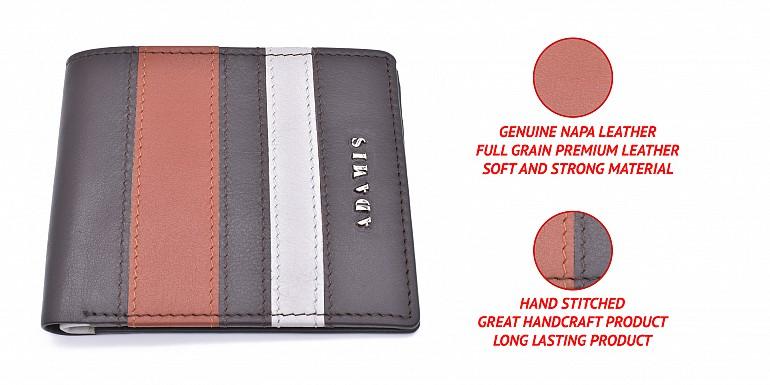 W334-Alvaro-Men's bifold wallet in genuine leather - Brown / Tan
