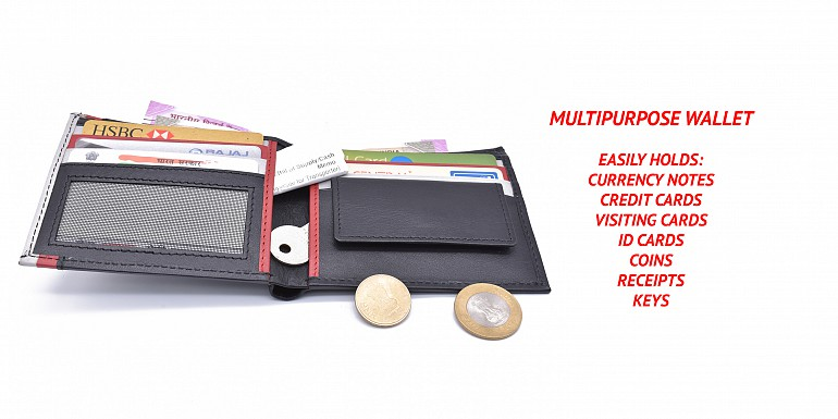 W335-Alex-Men's bifold wallet in genuine leather - Black/Red