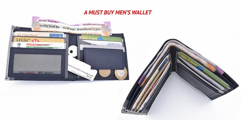W335-Alex-Men's bifold wallet in genuine leather - Blue