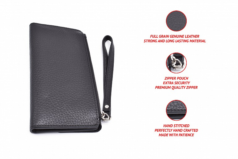 W337-Benicia-Women's wallet with loop and zip closing in genuine leather - Black/Beige