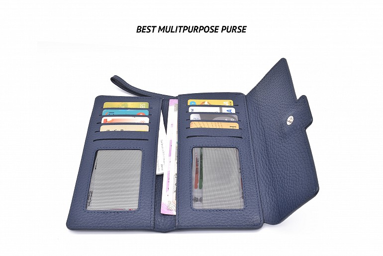 W337-Benicia-Women's wallet with loop and zip closing in genuine leather - Blue/Beige