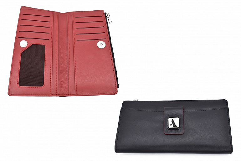 W338-Claudita-Women's wallet with loop and zip closing in genuine leather - Black/Red