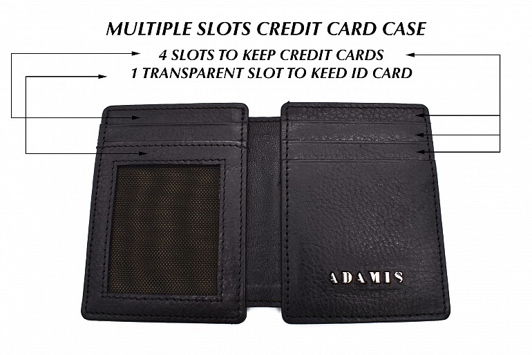 W339--Credit card case in genuine leather - Black