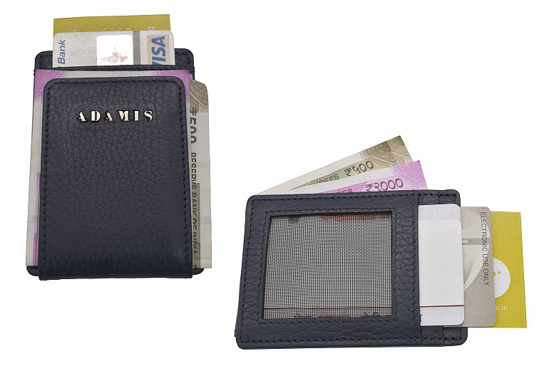 W340--Credit card case in genuine leather - Blue