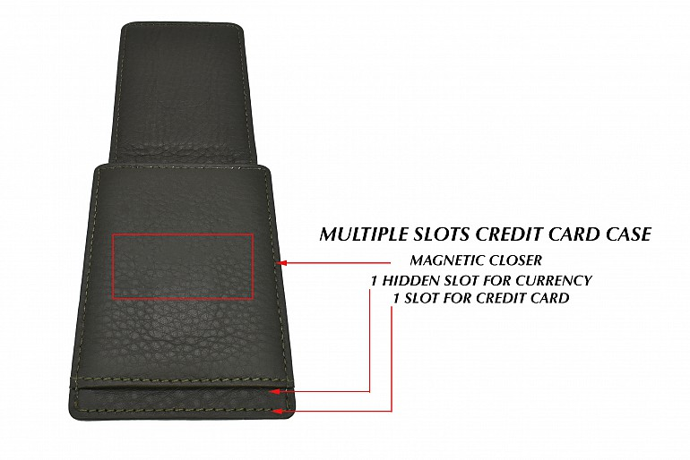 W340--Credit card case in genuine leather - Green