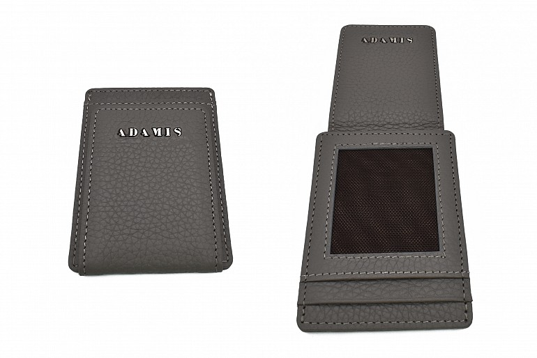 W340--Credit card case in genuine leather - Grey