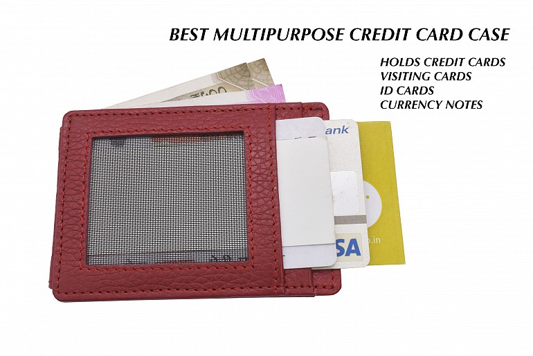 W340--Credit card case in genuine leather - Red