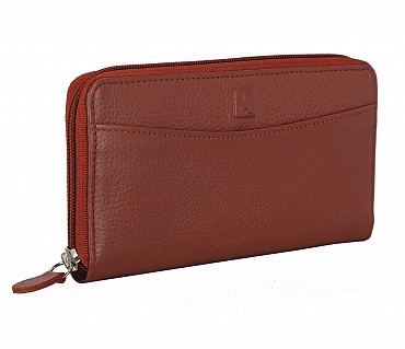 W35-Freida-Women's wallet cum clutch in Genuine Leather - Tan