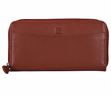 W35-Freida-Women's wallet cum clutch in Genuine Leather - Tan