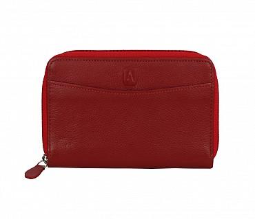 W35-Freida-Women's wallet cum clutch in Genuine Leather - Red