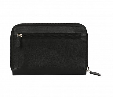 W35-Freida-Women's wallet cum clutch in Genuine Leather - Black