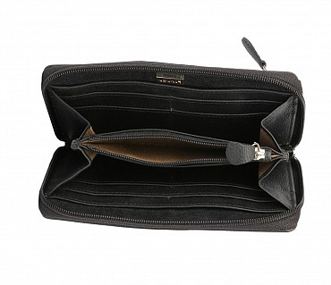 W35-Freida-Women's wallet cum clutch in Genuine Leather - Black