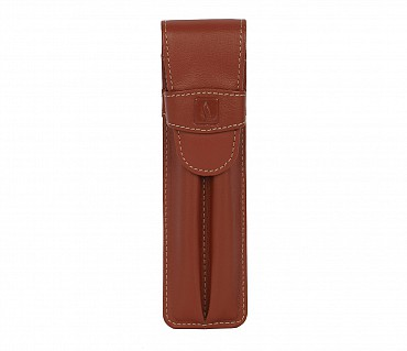 W51--Pen case to carry 2 pens in Genuine Leather - Tan