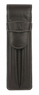 W51--Pen case to carry 2 pens in Genuine Leather - Brown