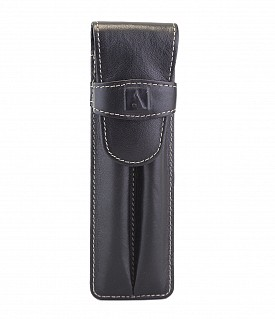 W51--Pen case to carry 2 pens in Genuine Leather - Black