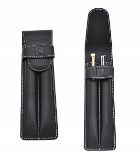 W51--Pen case to carry 2 pens in Genuine Leather - blk