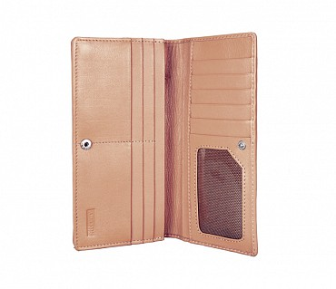W6-Olive-Women's wallet cum clutch in Genuine Leather - Beige