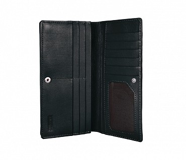 W6-Olive-Women's wallet cum clutch in Genuine Leather - Black