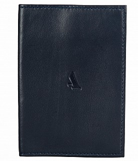W73--Passport cover in Genuine Leather - Blue