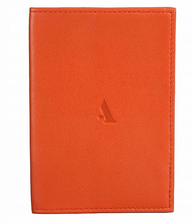W73--Passport cover in Genuine Leather - Orange