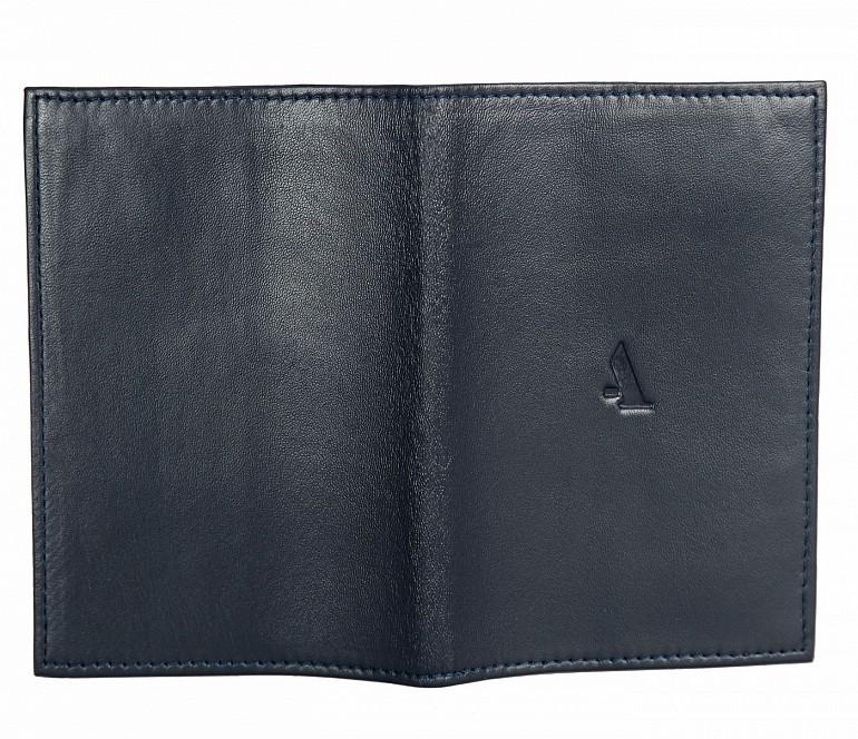 W73--Passport cover in Genuine Leather - Blue