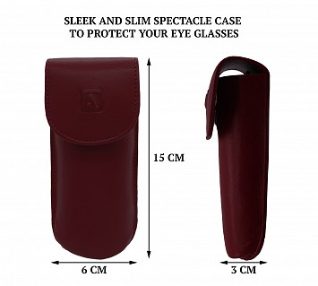 W74--Reading spectacle semi hard case in Genuine Leather - Red