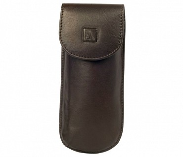 W74--Reading spectacle semi hard case in Genuine Leather - Brown