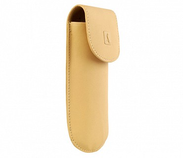 W74--Reading spectacle semi hard case in Genuine Leather - Beige/Gold