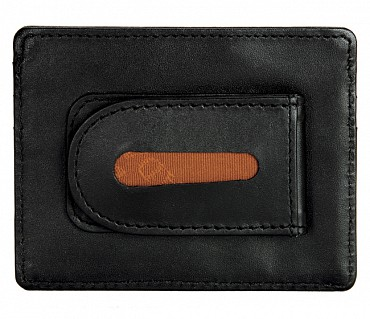 W75--Money clip card holder in Genuine Leather - Black