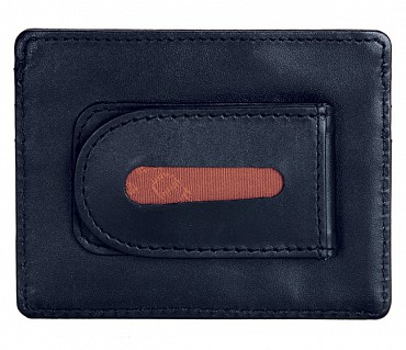 W75--Money clip card holder in Genuine Leather - Blue