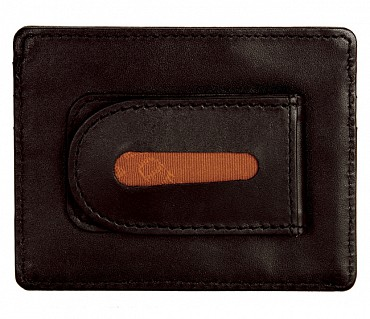 W75--Money clip card holder in Genuine Leather - Brown