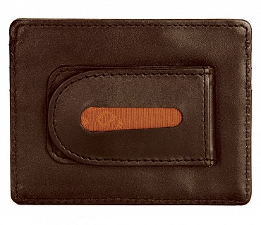 W75--Money clip card holder in Genuine Leather - Tan
