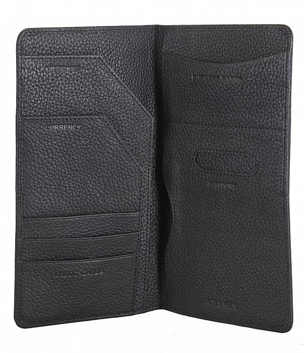W85-Rafel -Travel document wallet in Genuine Leather - Black